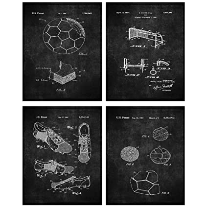 8d50bb49c67aa TheNameStore Soccer Patent Print Wall Art - Set of Four Fine Art Photos  8x10 Unframed - Great Gift for Soccer Player Decor (Black)