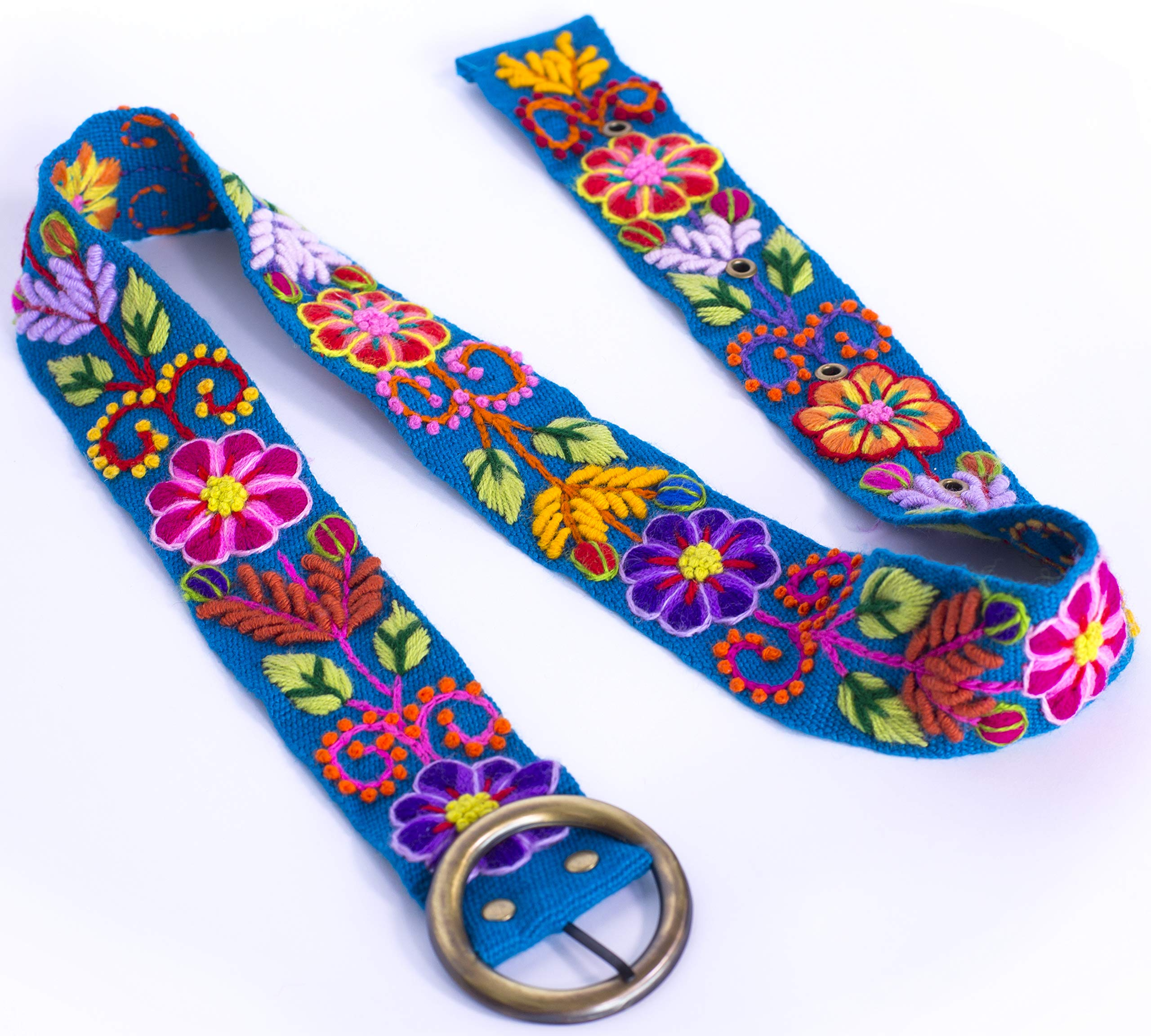 RAYMIS Womens Alpaca Wool Handmade Belt with Colorful Embroidered Flowers (Turquoise)