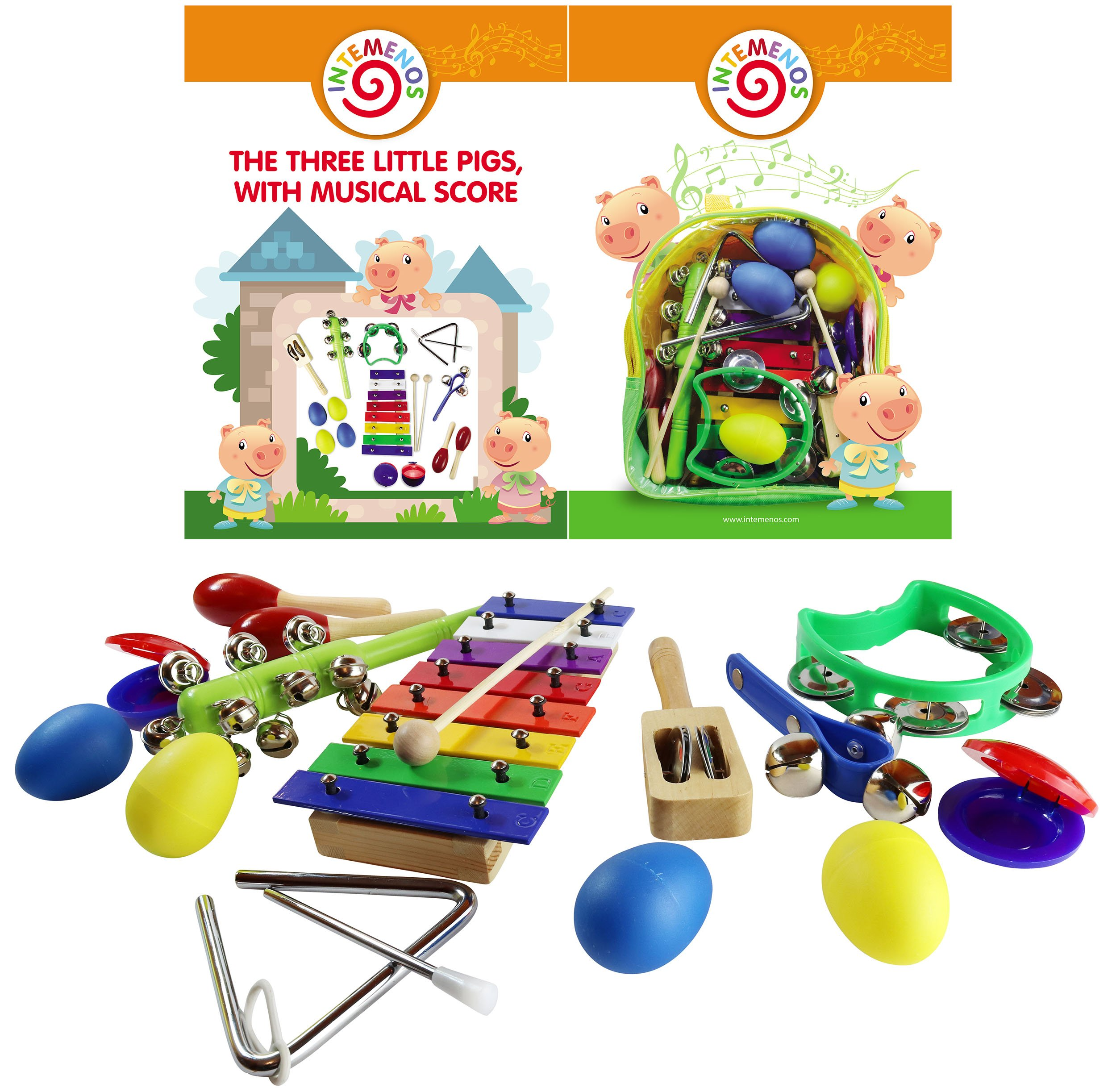 Kids Musical Toy Instruments Set with Xylophone 14 pcs Musical Toys Set in a Backpack