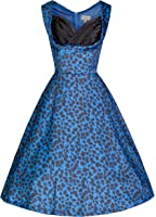 Lindy Bop 'Ophelia' Vintage 50's Electric Blue Print Party Swing Dress