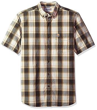 e639ee7f93 Carhartt Men's Essential Plaid Button Down Collar Short Sleeve Shirt,  Gravel, Medium at Amazon Men's Clothing store: