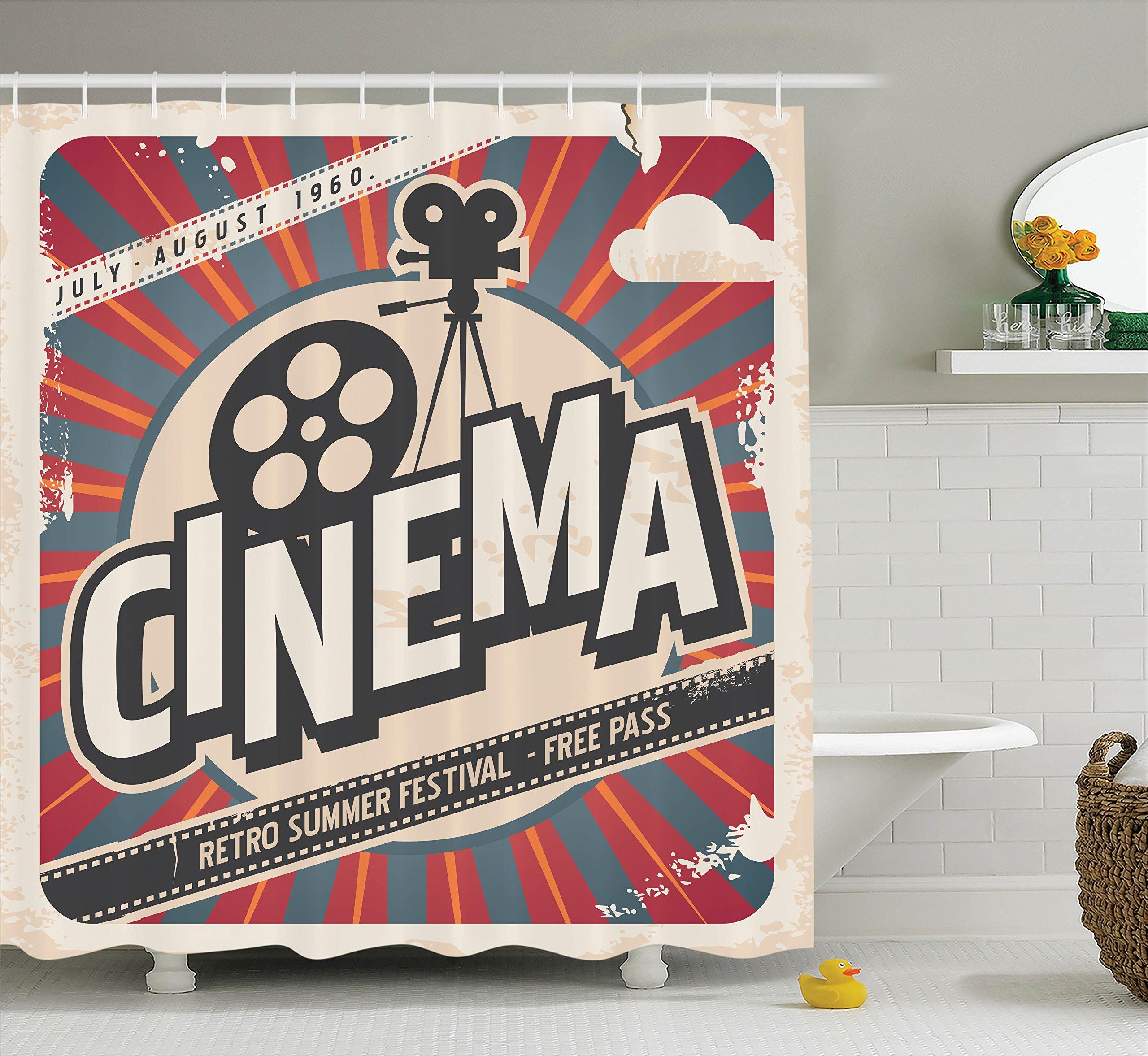 Ambesonne Vintage Decor Shower Curtain Set, Retro Cinema Movie Vintage Paper Texture Hollywood Stars Decorative Design, Bathroom Accessories, 69W X 70L Inches, Beige Amber Charcoal Grey
