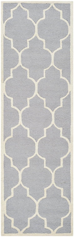 Safavieh Everly handgetufteter Teppich, CAM134D, Silber   Elfenbein, 76 X 243  cm