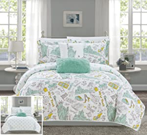 Chic Home New York 4 Piece Reversible Quilt Set City Inspired Printed Design Coverlet Bedding - Decorative Pillows Sham Included/XL Size, Twin, Green