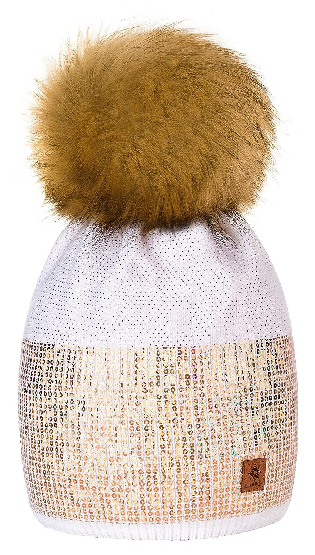 Winter Autunno Inverno Cappello Cristallo Più Grande Pelliccia Pom Pom  Invernale di lana Berretto Delle Signore df623a4e68c8
