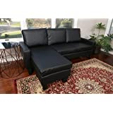 Large Black Leather Modern Contemporary Upholstered Quality Left or Right Adjustable Sectional