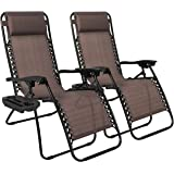 Best Choice Products Set of 2 Adjustable Zero Gravity Lounge Chair Recliners for Patio, Pool w/ Cup Holders - Brown