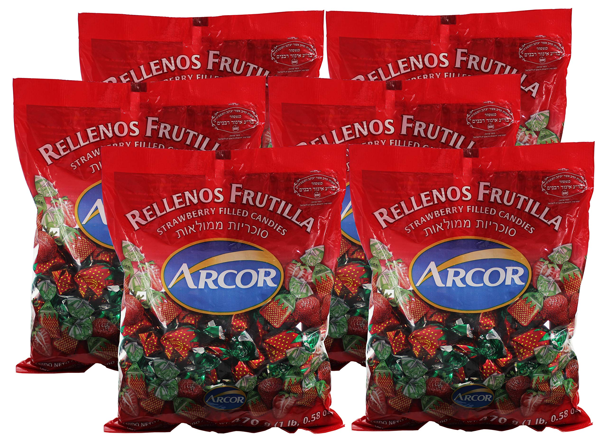Arcor Kosher Filled Strawberry Flavored Hard Candy with Chewy Centers - Each bag contains 470 Grams = Total 2820-grams (6.21lb) (Pack of 6). by Arcor Kosher