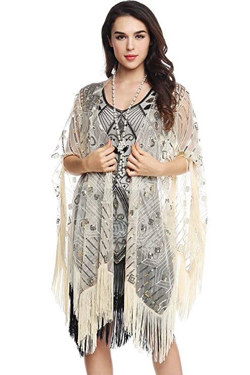 1920s Style Shawls, Wraps, Scarves ArtiDeco Sequin Beaded Art Deco Evening Cape Womens 1920s Fringed Shawl Wedding Party Shawl Scarf �16.49 AT vintagedancer.com