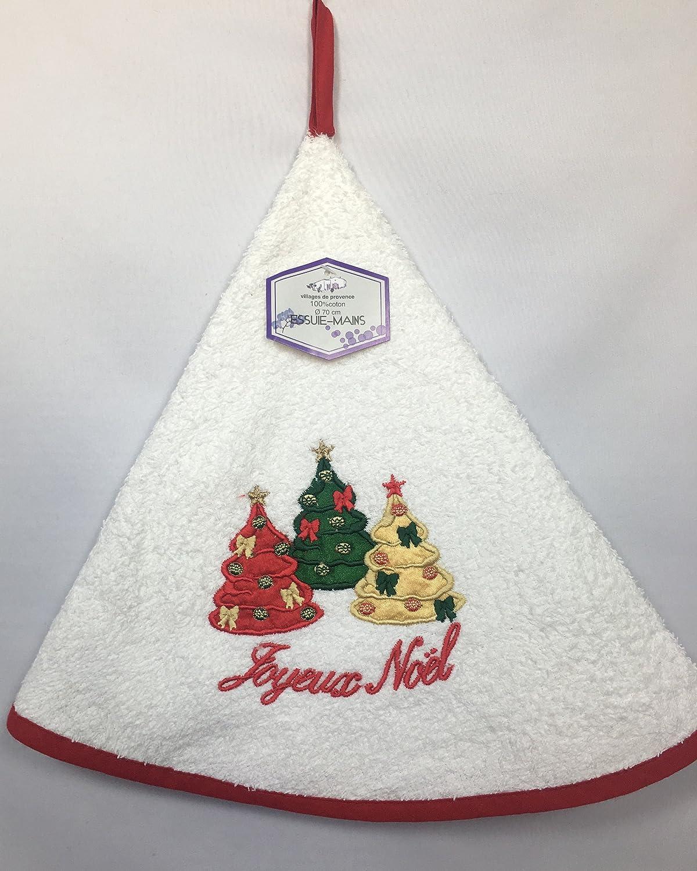 Christmas sponge Round Embroidered 100% Cotton Hand Towel White Ø70cm–3trees Villages de Provence