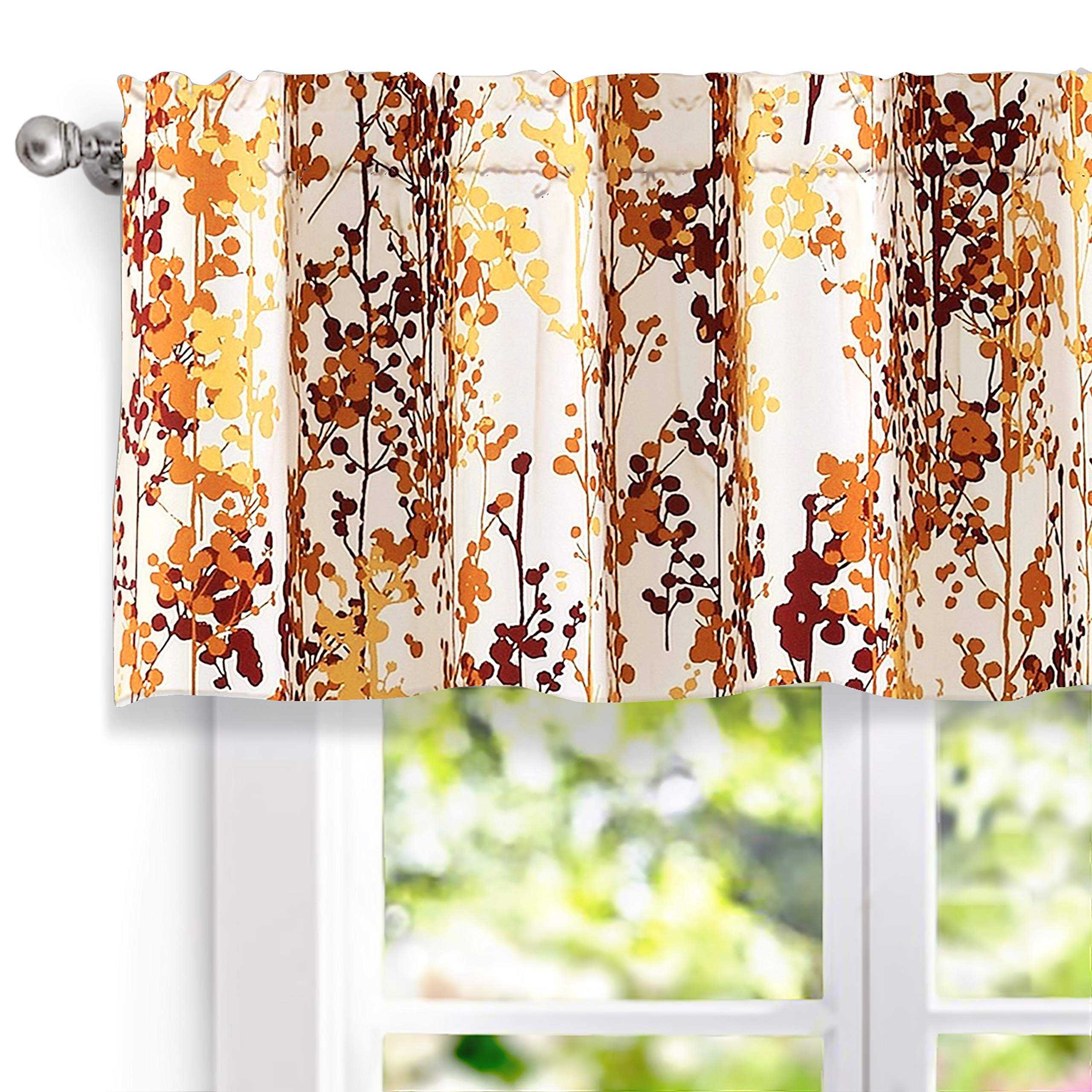 DriftAway Leah Abstract Floral Blossom Ink Painting Window Curtain Valance, Rod Pocket (Red/Rust/Orange/Gold/Yellow, 52''x18''+2'' Header)