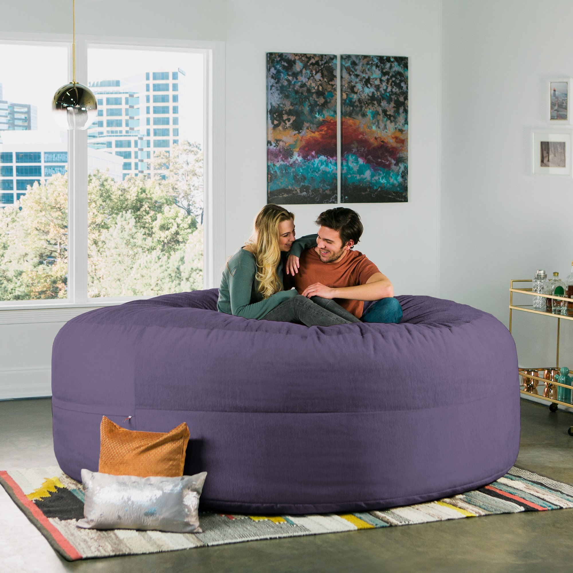 Jaxx Cocoon 8 Foot Huge Sleeper Bean Bag Bed - Chenille, Plum by Jaxx (Image #6)