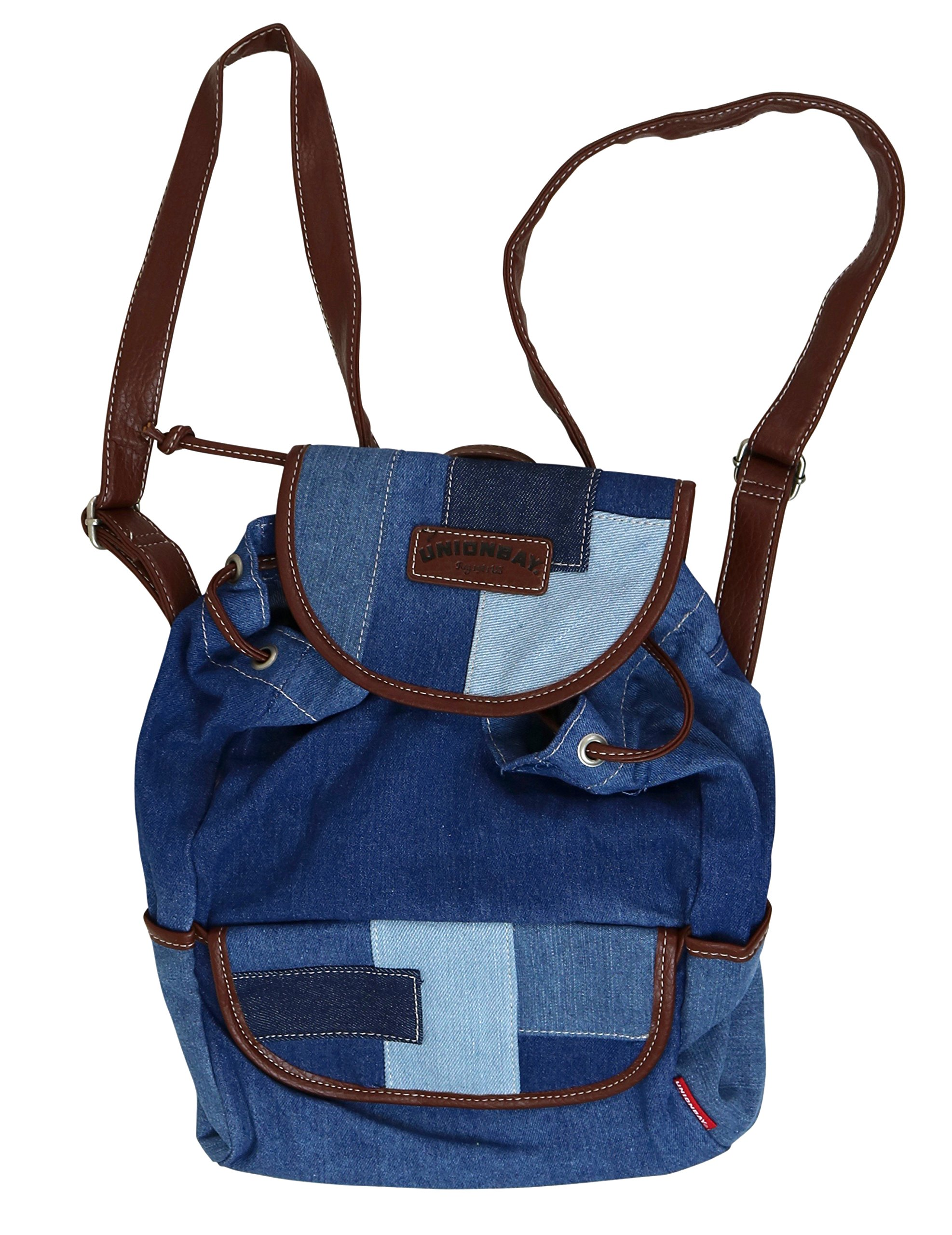 Unionbay Denim Backpack Handbag with Adjustable Faux Leather Straps by UNIONBAY (Image #3)