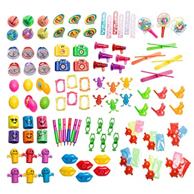 Neliblu Bulk Party Favor Pinata Toy Assortment Pack of 101 Pc, Mid-Sized and Small Toys, Easter Egg Fillers, Pinata Filler, Prizes for Party Favor Bags, School Classrooms, a Treasure Chest Box Toys: Toys & Games