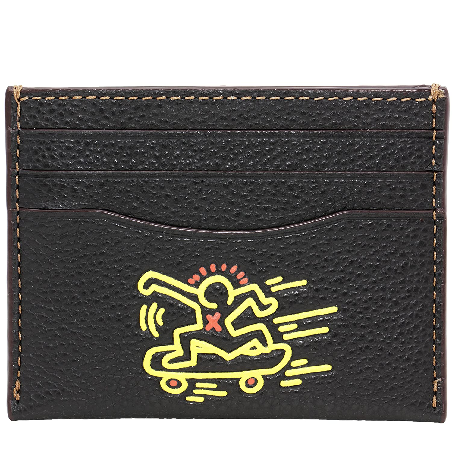 Coach Card Case Leather Limited Edition KEITH HARING Wallet (Black ...