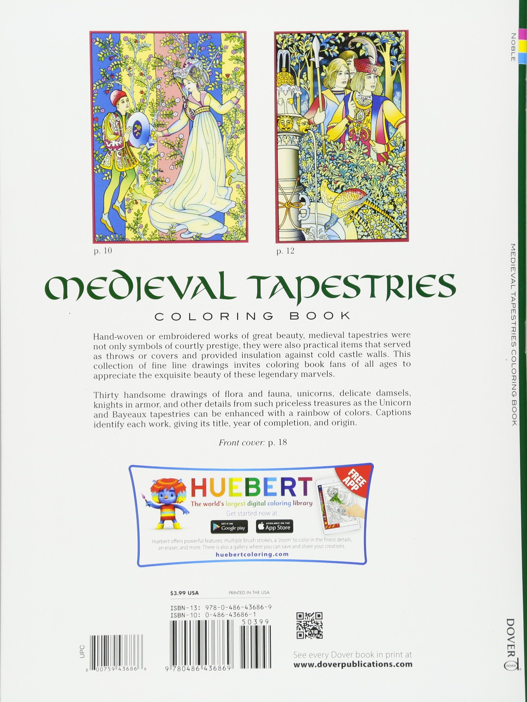 Medieval Tapestries Coloring Book Dover Fashion Marty Noble 8601400597873 Amazon Books