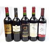 セレクション2 赤ワイン 5本セット (チリワインワイン 1本 フランスワイン 3本 イタリアワイン 1本)計750ml×5本