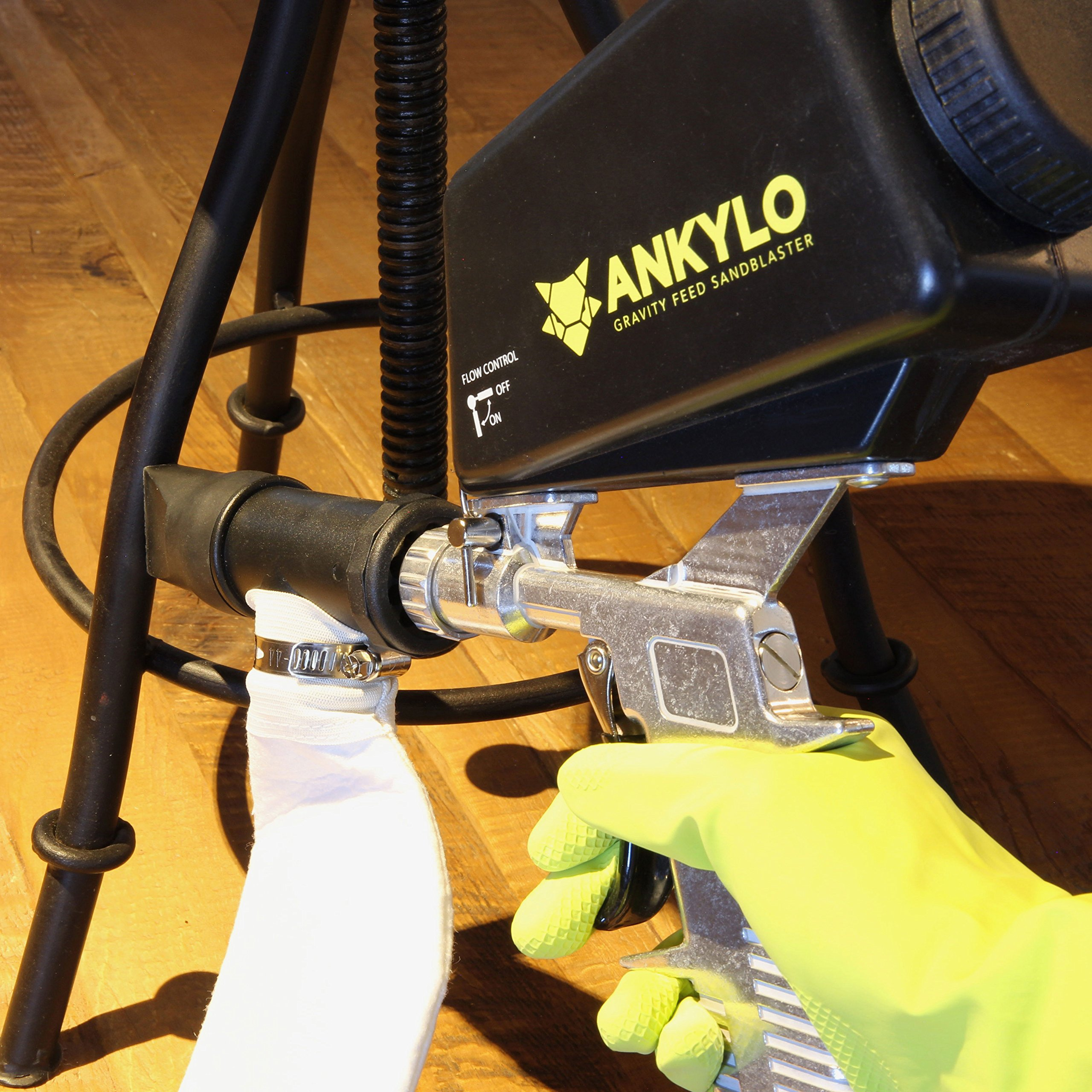 Gravity Sandblaster Gun - Durable Metal - Handheld and Portable with bonus Spot Blasting Kit - Remove Rust & Paint, Clean Tools & Parts, Create Art by ANKYLO Tools (Image #3)