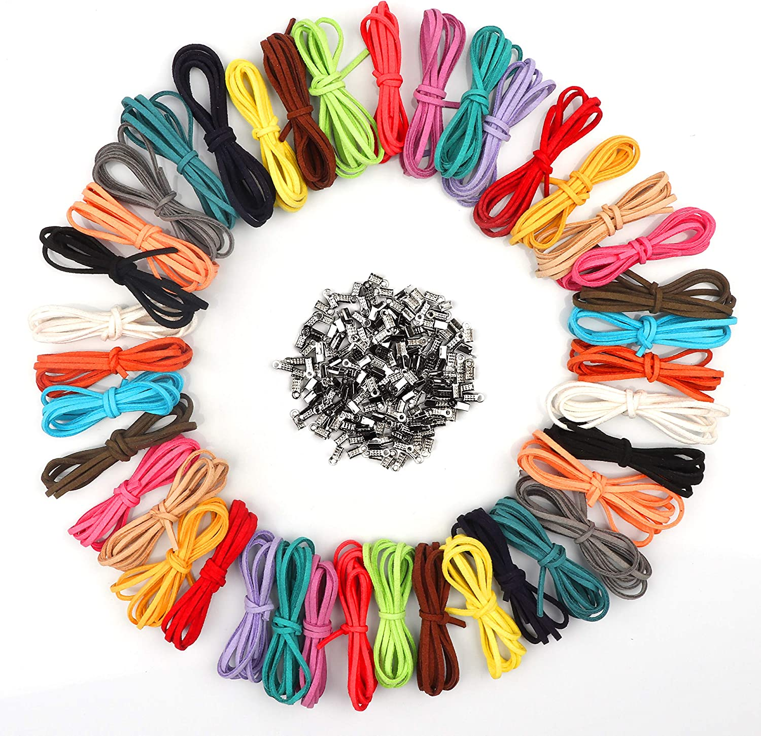 Curtzy 40 Pieces 1m x 3mm Leather Cord Suede String with 200 Pieces Cord Ends For Bracelet, Necklace, Key Rings, Jewellery, and Gift Making DIY Crafts