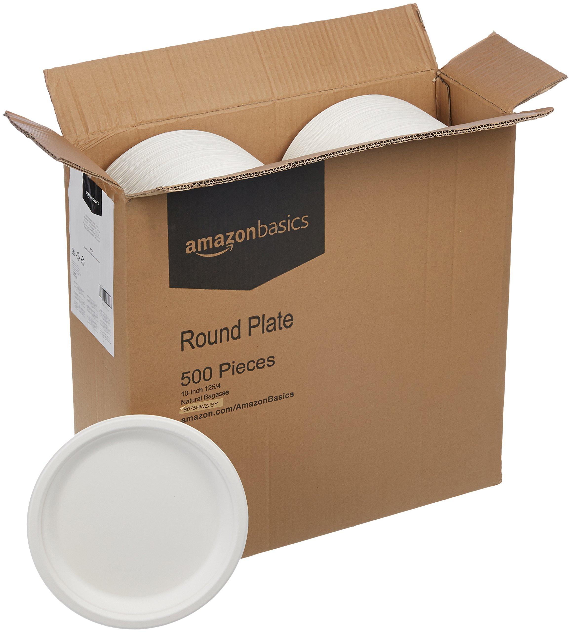 AmazonBasics 10-Inch Compostable Plates, 500-Count by AmazonBasics (Image #3)