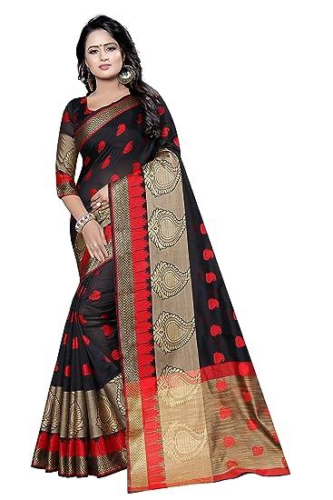 71cca4b423 SATYAM WEAVES Women's Banarasi Cotton Silk Saree, Free Size(Black ...