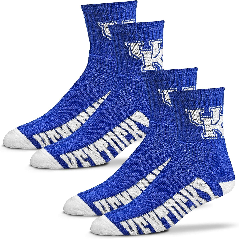 For Bare Feet Mens NCAA Quarter Socks 2-Pack