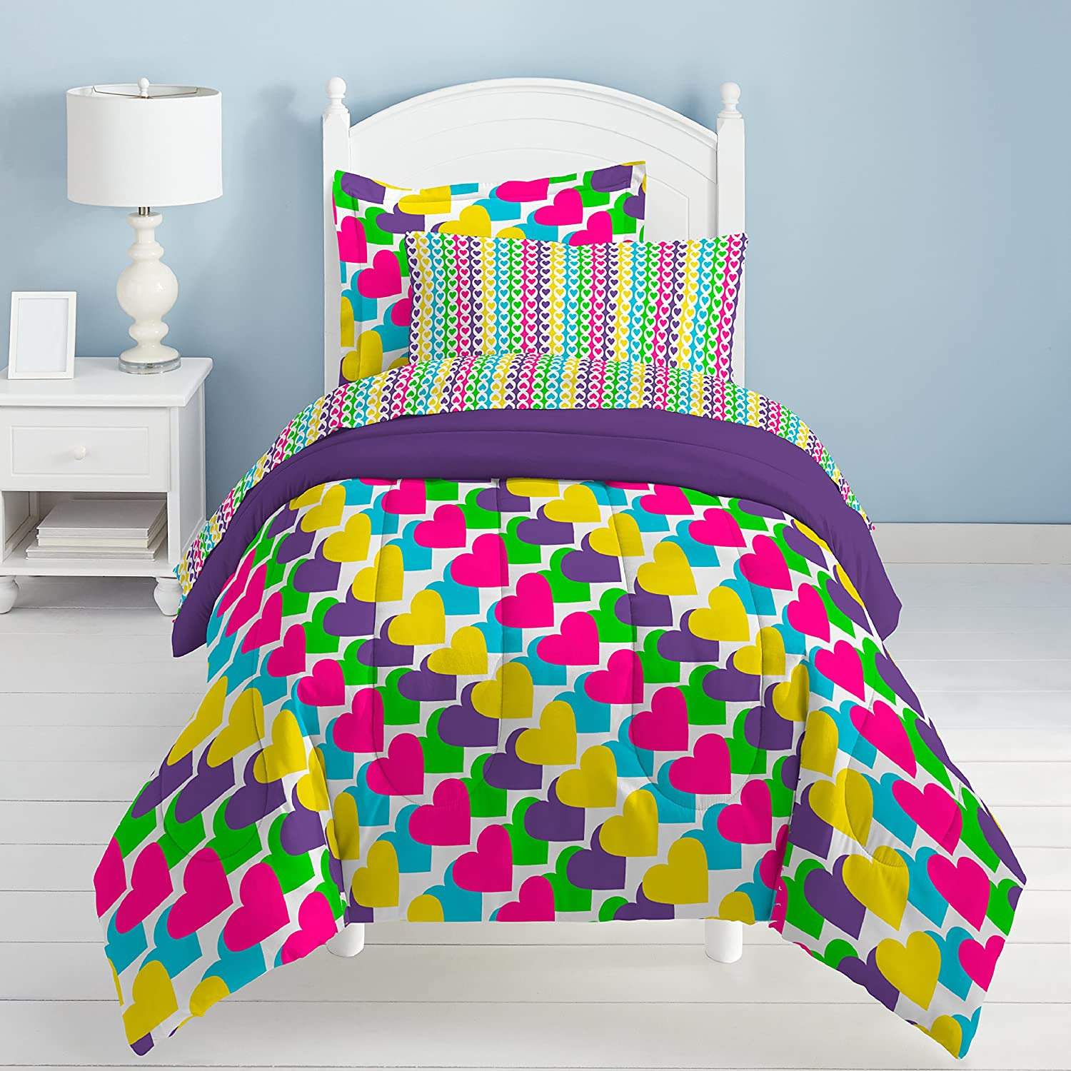 CA 5 Piece Kids Girls Hearts Rainbows Comforter Twin Set, Teal Blue Pink Bedding Purple Yellow Vibrant Green White Love Heart Shapes Pattern Pretty, Polyester