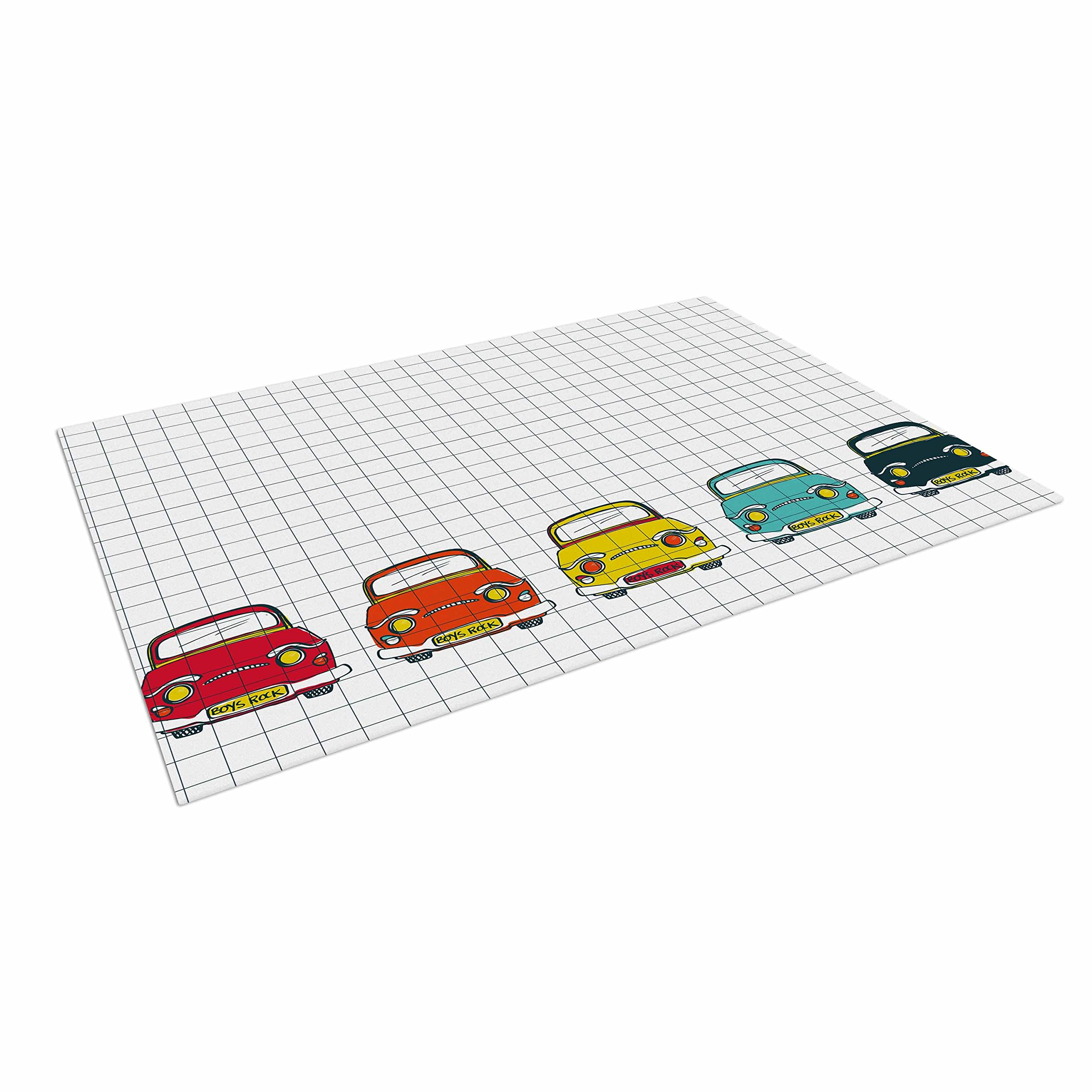 KESS InHouse Majobv ''Boys Rock'' Multicolor Cars Outdoor Floor Mat, 4' x 5'