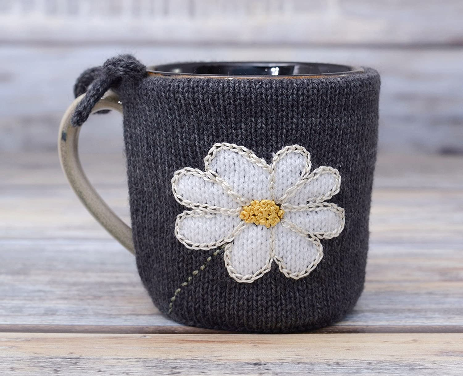 Coffee Cozy Mug Warmer With Daisy Tea Cup Cosy Teacup Sweater Knit Gift Sleeve Chamomile White Flower Primrose