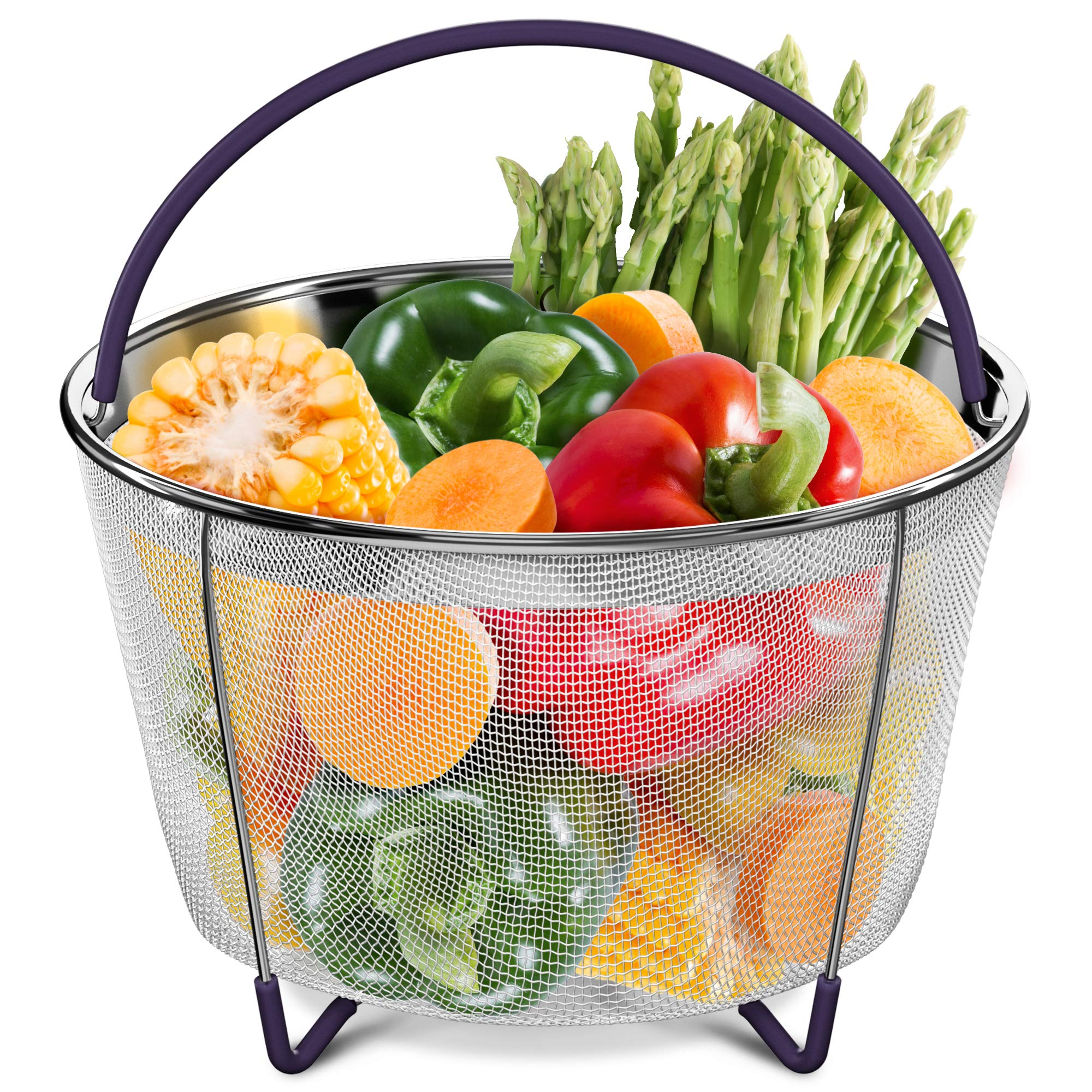 PerfeCome – Steamer Basket 6qt – Instant Pot Accessories With Silicone Scratchproof & Nonslip Feet & Handles In 5 Colors – Food Grade Rustproof Veggie Steamer – Durable Pressure Cooker Steaming Rack