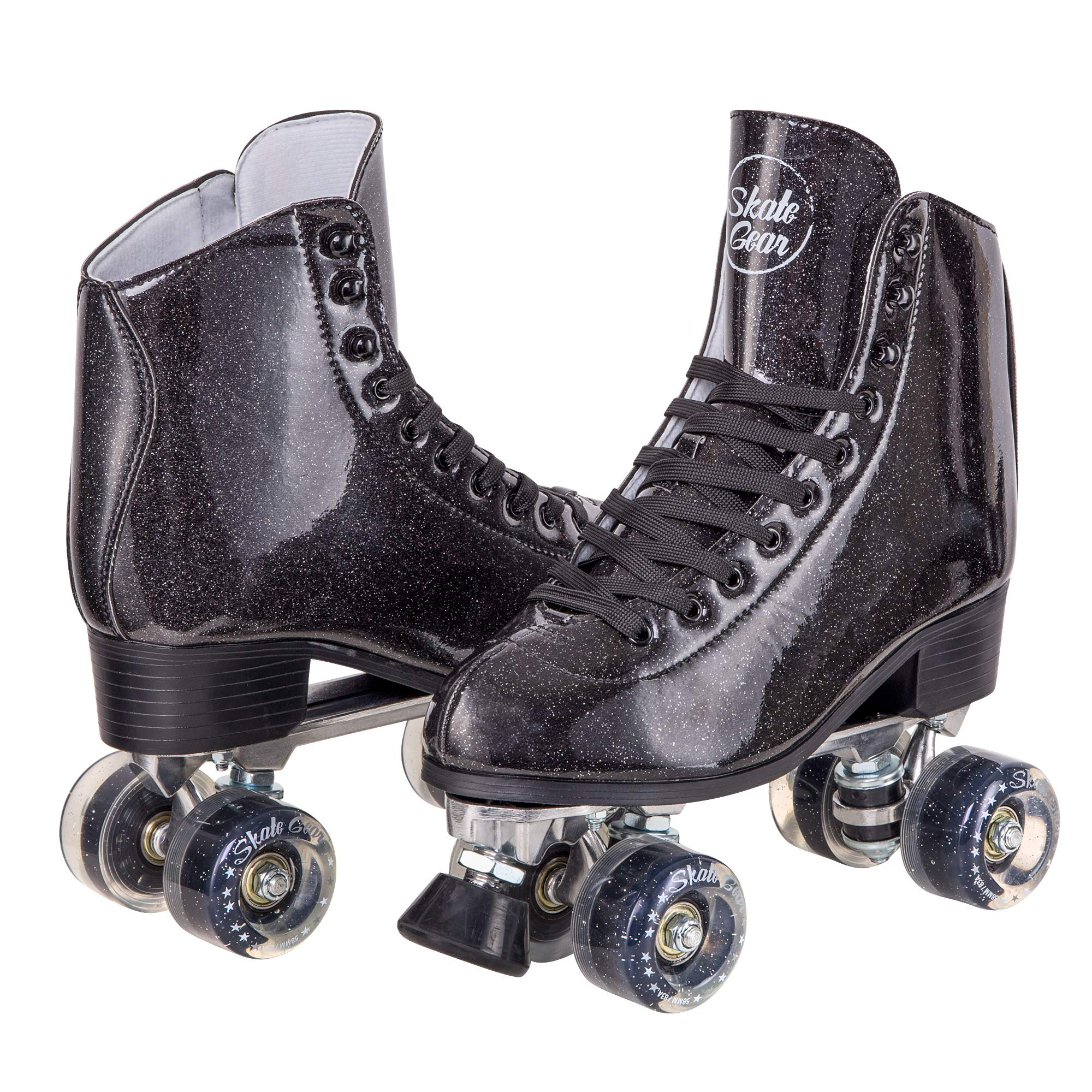 Cal 7 Sparkly Roller Skates for Indoor & Outdoor Skating, Faux Leather Quad Skate with Ankle Support & 83A PU Wheels for Kids & Adults (Black, Men's 9/ Women's 10)