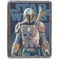 """Star Wars The Mandalorian, """"Alone"""" Metallic Woven Tapestry Throw Blanket, 48"""" x 60"""", Multi Color, 1 Count"""