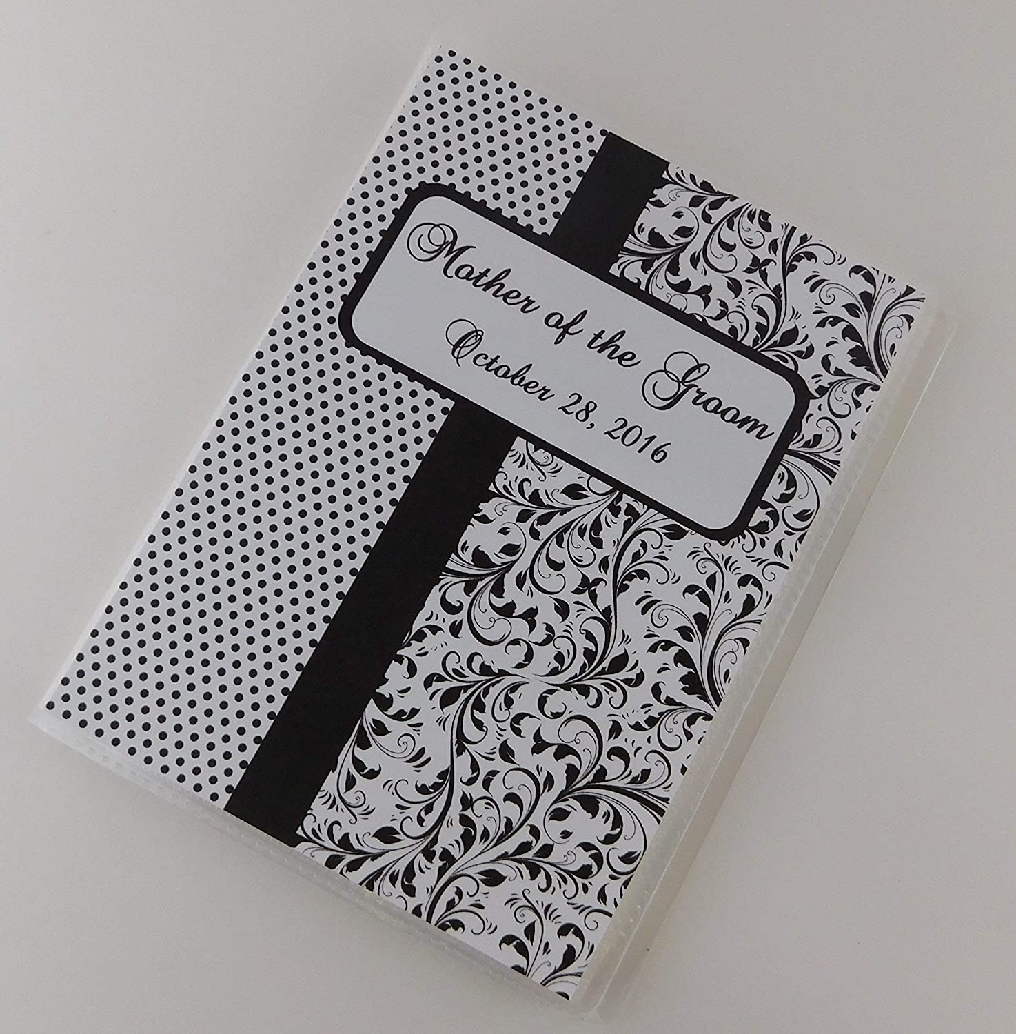 Bridal Shower Photo Album IA#896 Personalized Advice Cards Wedding Gift 4x6 or 5x7 Picture Black Stripe Watercolor Chic Floral Flowers Grandmas Brag Book