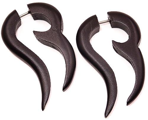 Falso Dilatador madera pendientes Piercing Wooden Gauge Earring Fake par Expander espiral negro: Amazon.es: Joyería