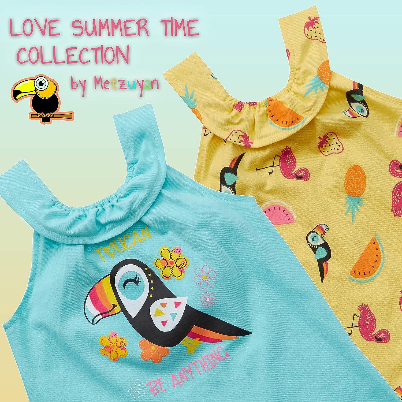 Metzuyan Baby Girls Tropical Sleeveless Jumpsuit Summer Beach Clothes