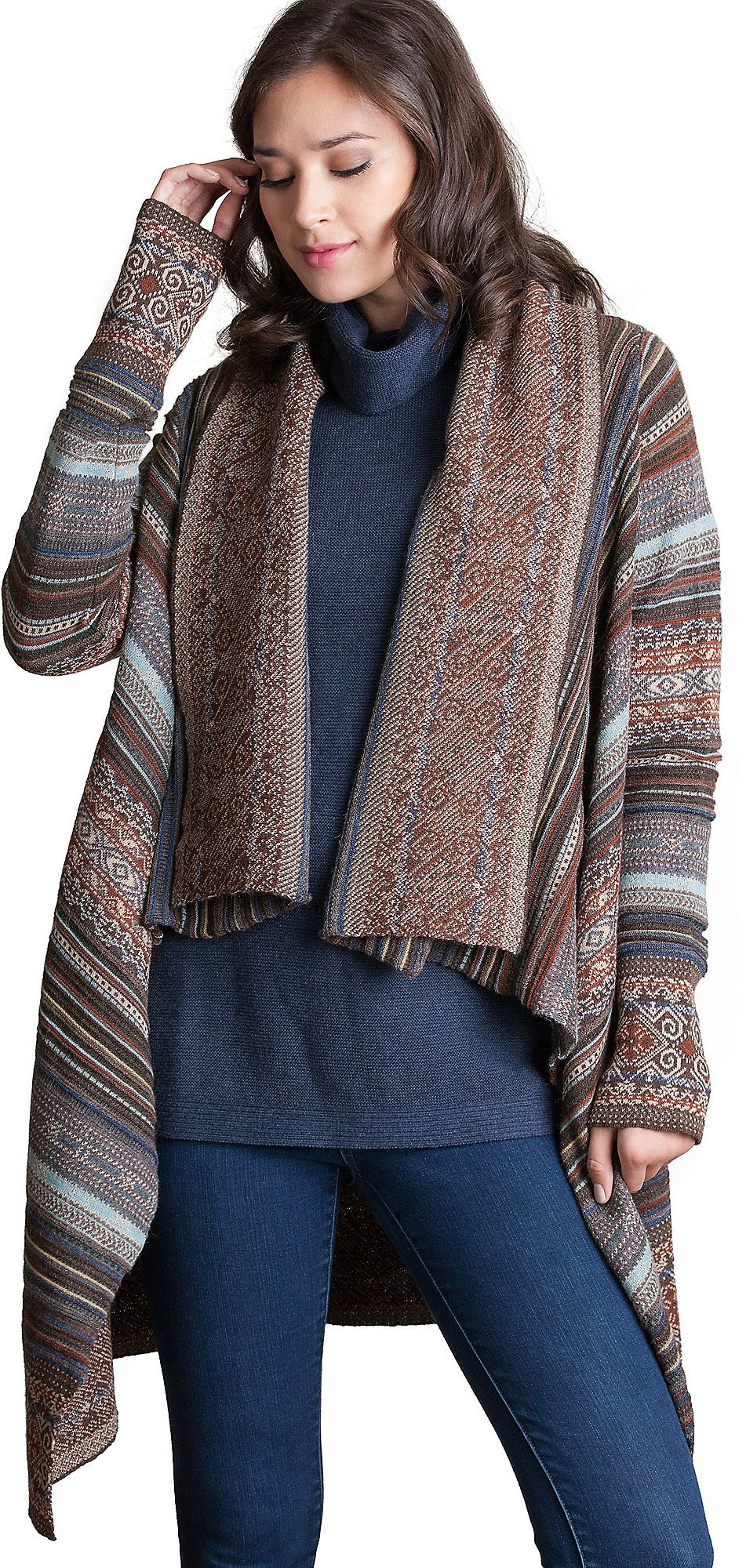 Overland Sheepskin Co. Camila Peruvian Alpaca Wool Open Sweater, Brown/Multi, Size Small/Medium (4-8)