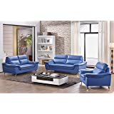 Matisse Elin Leather Sofa Set (Blue)