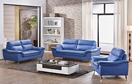 Wondrous Matisse Elin Leather Sofa Set Blue Theyellowbook Wood Chair Design Ideas Theyellowbookinfo