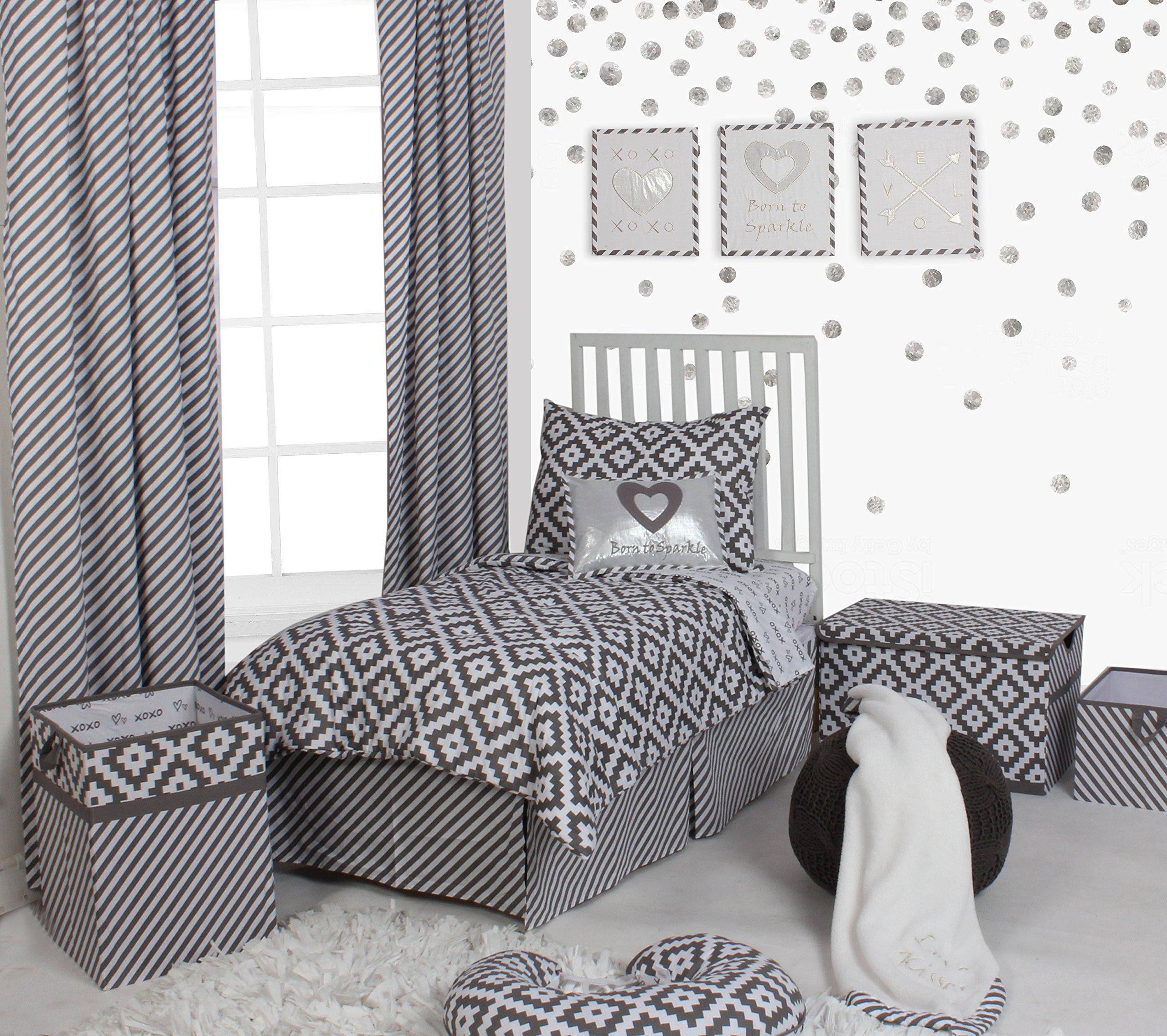 Bacati Love 4 Piece Toddler Bedding Set, Grey/White