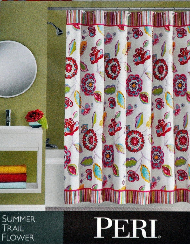 Peri bathroom accessories - Amazon Com Peri Fabric Shower Curtain Summer Trail Flower Pink Purple Green On White 72 X 72 Home Kitchen