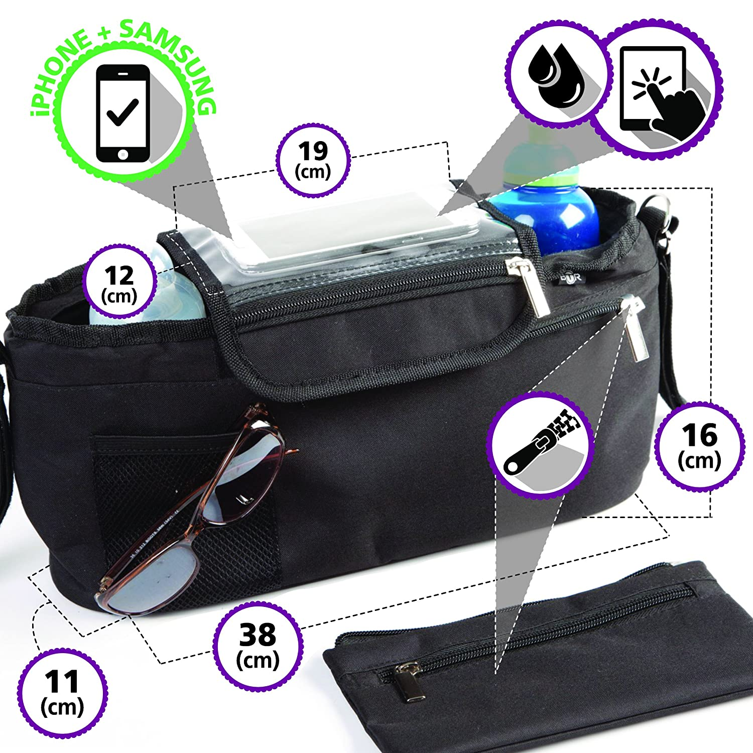 BTR Buggy Organiser Pram Bag with Detachable Purse & Mobile Phone Holder. Black BTR341