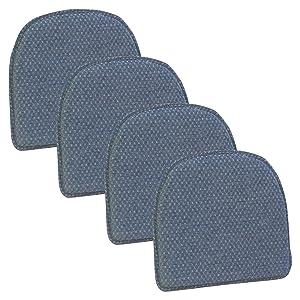Klear Vu Raindrop Non Slip Dining Chair Pad Cushion, Set of 4, Wedge
