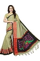 Rani Saahiba Art Dupion Silk Applique Embroidered Saree ( PDM2_Beige )