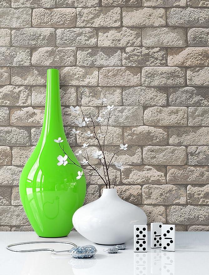 Papel pintado de piedra beige con