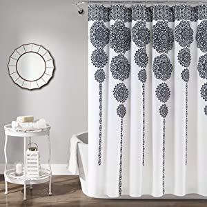 "Lush Decor, Navy Stripe Medallion Shower Curtain-Fabric Mandala Bohemian Damask Print Design, x 72"", Blue"