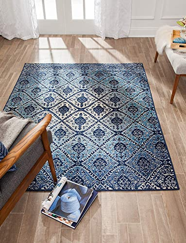 Anji Mountain Brushed Wave Area Rug, 8 x 10-Feet, Blue Ivory