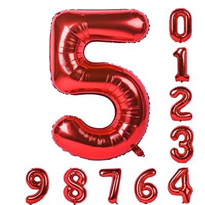 Balloon 0-9(Zero-Nine) 40 Inch Red Numbers Birthday Party Mylar Decorations of Arabic Numerals 5: Health & Personal Care