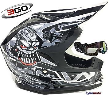 3GO X10-K NIÑOS CRÁNEO DISEÑO MOTOCROSS QUAD ATV ENDURO OFF ROAD CASCO NEGRO CON