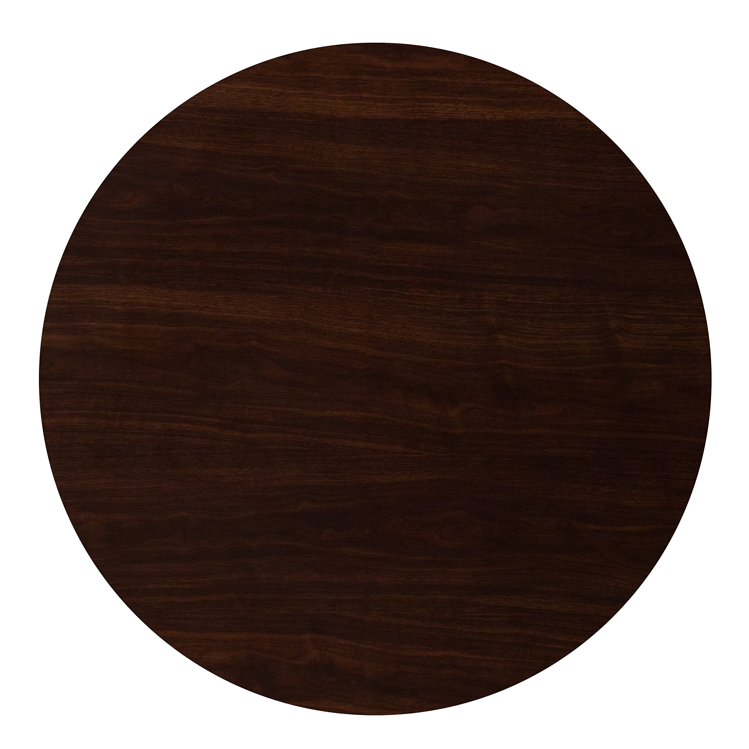 Flash Furniture 36'' Round High-Gloss Walnut Resin Table Top with 2'' Thick Drop-Lip