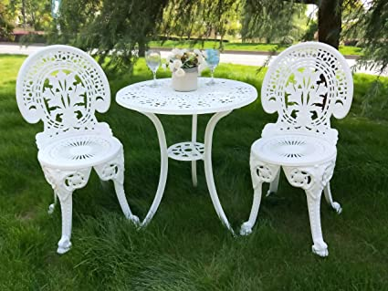 285e67926440f Image Unavailable. Image not available for. Color  Vanteriam  Weather-Resistant Outdoor Patio Furniture 3PC Cast Aluminum Bistro Set